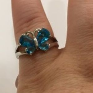 Aquamarine CZ 925 stamped butterfly ring